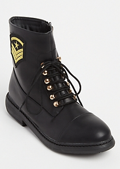 Black Military Patch Faux Leather Combat Boots