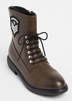 Brown Military Patch Faux Leather Combat Boots