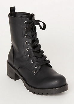 Black Faux Leather Lug Combat Boots