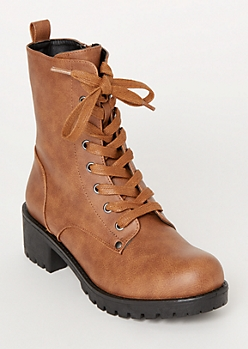 Brown Faux Leather Lug Combat Boots