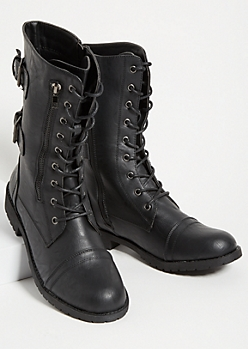 Black Buckled Back Combat Boots