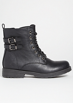 5a58aab4e2c6 Black Double Buckled Lace Up Combat Boots