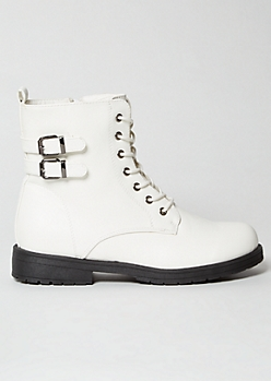 White Double Buckled Lace Up Combat Boots