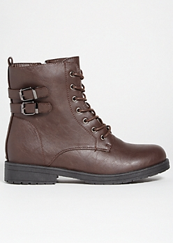 Brown Double Buckled Lace Up Combat Boots