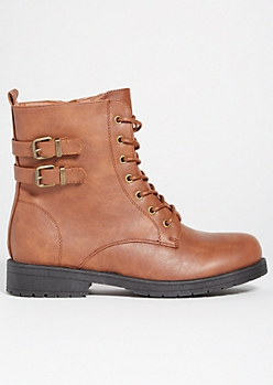 Tan Double Buckled Lace Up Combat Boots