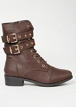 Dark Brown Double Buckled Strap Combat Boots