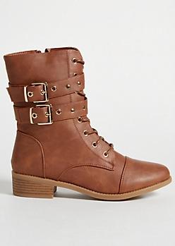 Cognac Double Buckled Strap Combat Boots