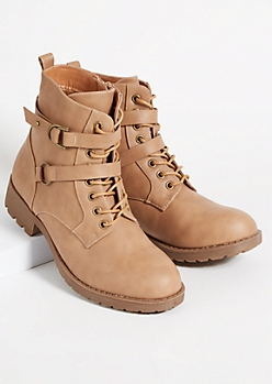 Khaki Double Buckled Combat Boots