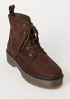 Brown Faux Suede Platform Combat Boots