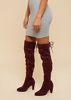 Burgundy Thigh High Heeled Boots