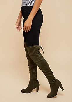 Olive Thigh High Heeled Boots