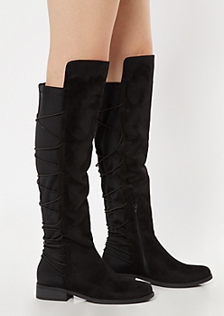 Black Over The Knee Bungee Flat Boots