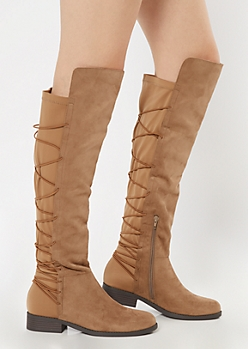 Taupe Over The Knee Bungee Flat Boots