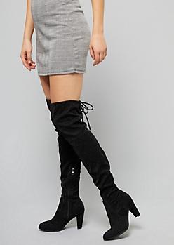 Black Metallic Over The Knee Back Tie Heeled Boots
