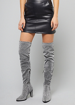 Silver Metallic Back Tie Thigh High Heeled Boots