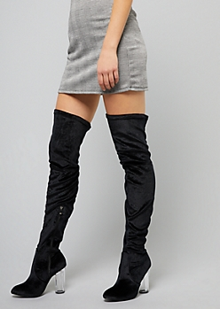 6475a94ec30 Black Faux Suede Thigh High Clear Heeled Boots
