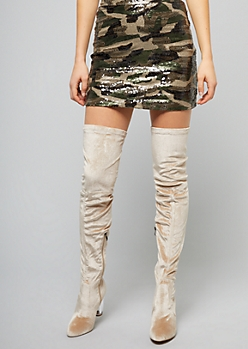 Nude Faux Suede Thigh High Clear Heeled Boots