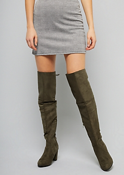 Olive Green Faux Suede Lace Up Thigh High Heeled Boots