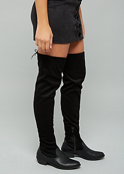 3ed13de344c Black Faux Leather Toe Tie Back Thigh High Boots