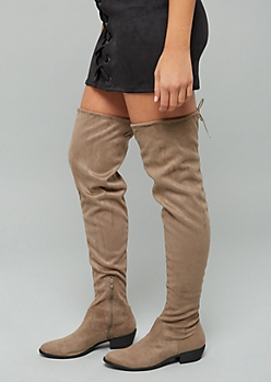 Taupe Faux Suede Tie Back Thigh High Boots