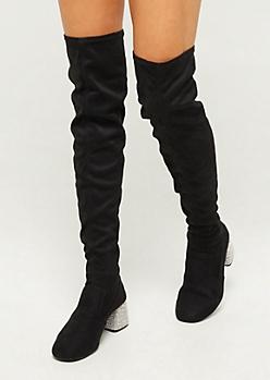 Black Embellished Heel Over The Knee Boots