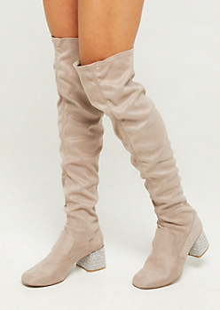 Taupe Embellished Heel Over The Knee Boots