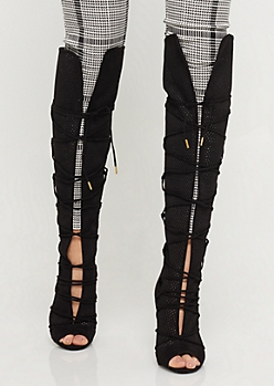 Black Lace-Up Perforated Peep Toe Over The Knee Boots