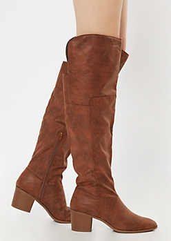 Camel Block Heel Over The Knee Boots