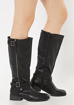 Black Tall Moto Boots