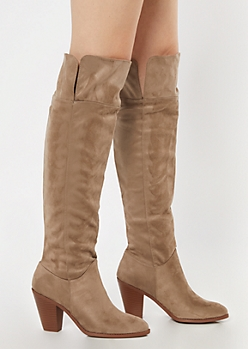 Taupe Faux Suede Over The Knee Heeled Boots