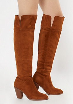 Camel Faux Suede Over The Knee Heeled Boots