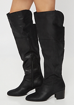 Black Gore Back Heeled Over The Knee Boots