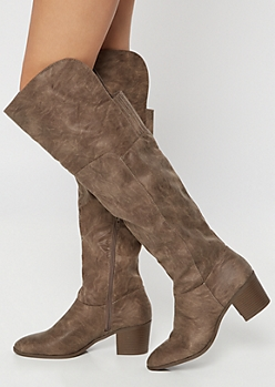 Taupe Gore Back Heeled Over The Knee Boots