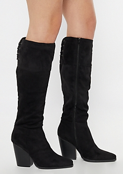 Black Lace Up Back Over The Knee Heeled Boots