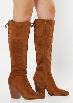 Cognac Lace Up Back Over The Knee Heeled Boots