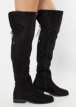 Black Faux Suede Tie Over The Knee Boots