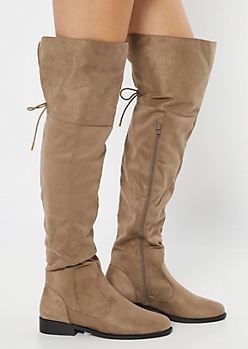 Taupe Faux Suede Tie Over The Knee Boots