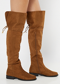 Cognac Faux Suede Tie Over The Knee Boots