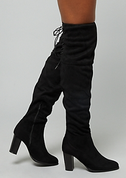 Black Faux Suede Lace Up Over The Knee Heeled Boots