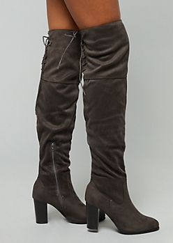 Gray Faux Suede Lace Up Over The Knee Heeled Boots