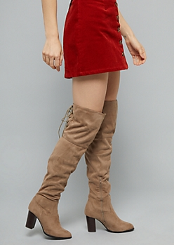 Taupe Lace Up Back Over The Knee Heeled Boots