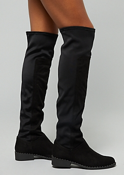 b95065178d6 Black Faux Suede Studded Scuba Over the Knee Boots