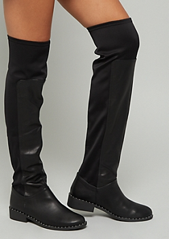 Black Faux Leather Studded Over The Knee Boots