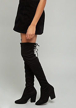 Black Faux Suede Lace Up Clasp Over The Knee Heeled Boots