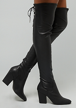 Black Faux Leather Lace Up Clasp Over The Knee Heeled Boots