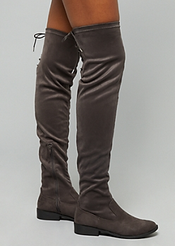 Charcoal Gray Lace Up Over the Knee Boots