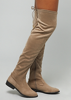 Taupe Lace Up Over the Knee Boots