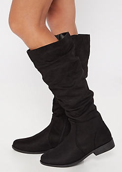 Black Faux Suede Slouchy Knee High Boots