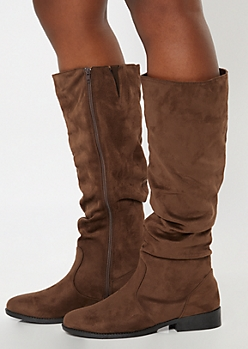 Brown Faux Suede Slouchy Knee High Boots
