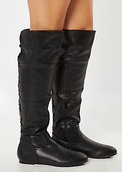 Black Crisscross Lattice Back Over The Knee Boots
